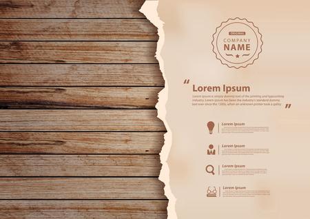 papier Grunge sur le mur en bois, illustration design (trace Image fond en bois)