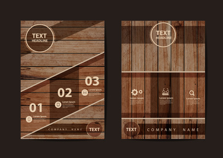 wood frame: Business brochure design layout template in A4 size, With texture of wood background, illustration modern design