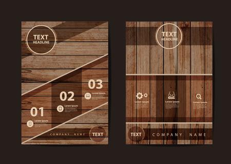 marco madera: negocios folleto plantilla de diseño de diseño de tamaño A4, con textura de fondo de madera, ilustración de diseño moderno