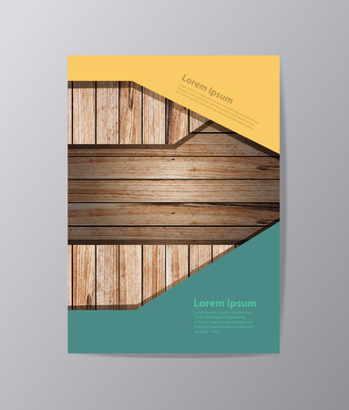 image size: Wood texture background annual report Leaflet Brochure template A4 size, book cover layout design, Abstract presentation templates illustration ( Image trace of wooden background )