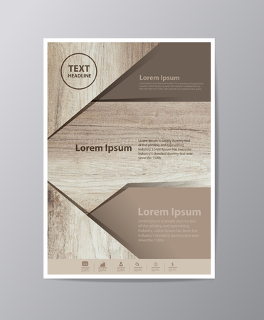 web template: Business brochure design layout template in A4 size, With texture of wood background, illustration modern design  ( Image trace of wooden background ) Illustration