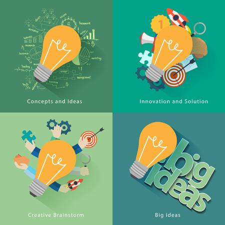 Concepto de negocio con ideas de puesta en marcha y el éxito, el análisis y la planificación, consultoría, trabajo en equipo, gestión de proyectos, intercambio de ideas, la investigación y el desarrollo, la ilustración plantilla de diseño moderno