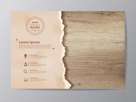 Gescheurd document op textuur van hout achtergrond, illustratie modern design (Afbeelding spoor van houten achtergrond)