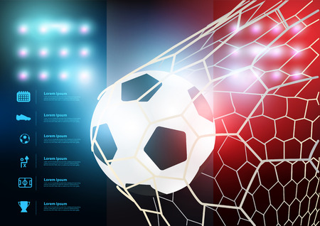 kickoff: Soccer ball in net with France flag background, Vector illustration layout template design