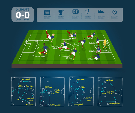 football player: Soccer field with team formation in perspective view