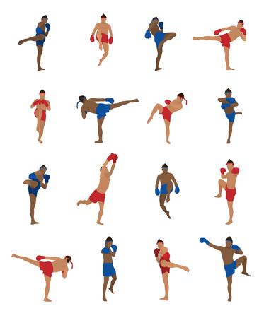 Vector set van thai boksen, muay thai, kickboksen, Thaise bokser, vechtsporten, geïsoleerd op een witte achtergrond