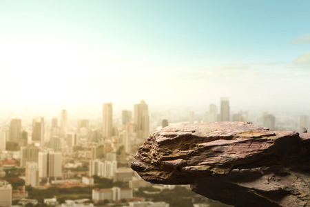 Blank space of cliff edge on modern skyscraper top view