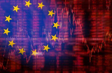 negative equity: Europe Flag, Downtrend stock data diagram, Eurozone euro crisis ideas concept
