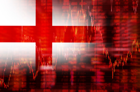 negative equity: England flag, Downtrend stock data diagram, Eurozone euro crisis ideas concept Stock Photo