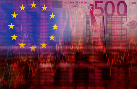 negative equity: Eurozone euro crisis idea concept, 500 euro banknotes and Europe Flag, Downtrend stock data diagram