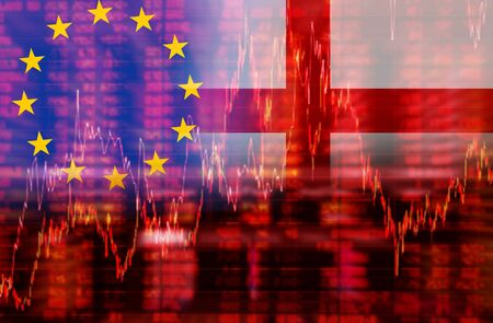 negative equity: Downtrend stock data diagram, Eurozone euro crisis ideas concept, Europe Flag with England flag Stock Photo