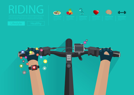 concepts and ideas: Hands riding a bike with wearing a smartwatch heart rate monitor. Smart watch applications icons flat design ideas concepts living healthy life, Vector illustration layout template