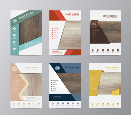 年次報告書パンフレット デザイン テンプレート リーフレット カバー プレゼンテーション ウッド テクスチャ背景、A4 サイズ (木製の背景の画像のトレース) のレイアウトの設定