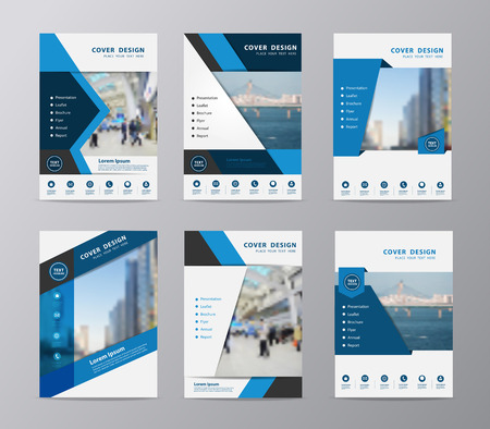 Blue annual report brochure design template , Set of leaflet cover presentation abstract flat background, layout in A4 size Иллюстрация