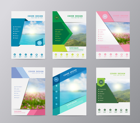 travel collage: Annual report brochure design template , Set of leaflet cover presentation nature landscape background, layout in A4 size Illustration