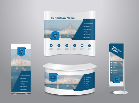 show: Set of trade exhibition stand with cover presentation abstract geometric background, With texture of wood background