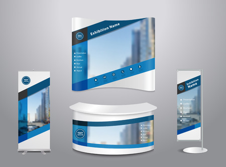 wood trade: Set of trade exhibition stand with cover presentation abstract geometric background, With texture of wood background, illustration modern design layout template Illustration