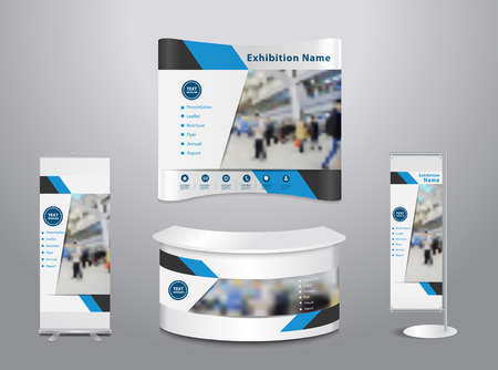 exhibition stand: Set of trade exhibition stand with cover presentation abstract geometric background, With texture of wood background, illustration modern design layout template Illustration