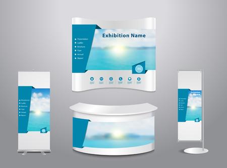 Set van de handel tentoonstelling stand met deksel presentatie abstract geometrische achtergrond, met blauwe zee en wolken op hemel achtergrond, illustratie modern design lay-out template