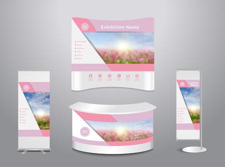 Conjunto de exposición comercial de pie con la presentación de la cubierta del fondo abstracto geométrico, con el campo de flores de primavera y el cielo azul de fondo, ilustración, diseño moderno plantilla de diseño Foto de archivo - 59767151
