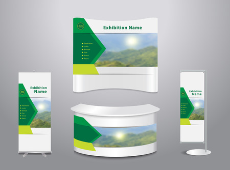 Set of trade exhibition stand with cover presentation abstract geometric background, With mountain landscape and blue sky background, illustration modern design layout template