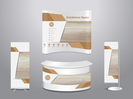 wood trade: Set of trade exhibition stand with cover presentation abstract geometric background, With texture of wood background, illustration ( Image trace of wooden background )