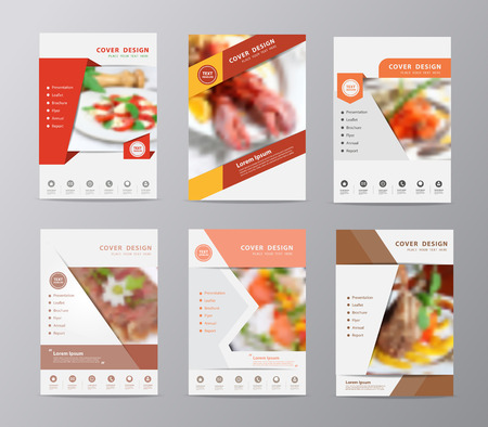 Set of annual report brochure design template , Leaflet cover presentation abstract flat background, layout in A4 size with set of food blurry, blurred background Illustration