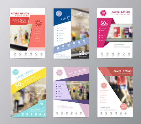 Set of annual report brochure design template , Leaflet cover presentation, Page layout in A4 size with blurred clothing store front entrance displaying woman and men fashion background Vectores