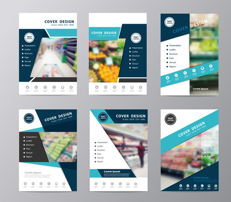 web shopping: Blue fold set annual report brochure design template , Leaflet cover presentation abstract geometric background, Page layout in A4 size with supermarket in blurry background