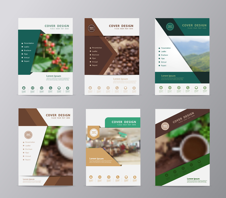 Annual report brochure design template , Set of leaflet cover presentation shop coffee cup and coffee beans background, layout in A4 size with