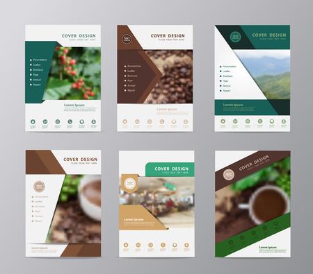 grano de cafe: plantilla de diseño del informe anual del folleto, Set de cubre volante taza de café y tienda de presentación de los granos de café de fondo, el diseño de tamaño A4 con Vectores