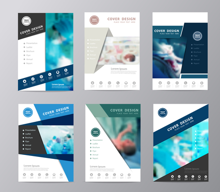 Blue annual report brochure design template , Leaflet cover presentation abstract flat background, Set design layout in A4 size with team surgeon at work in operating room background Illustration