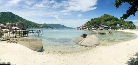 Tropical beach panorama with Nang Yuan Island, Koh Tao, Samui Surat Thani, Thailand