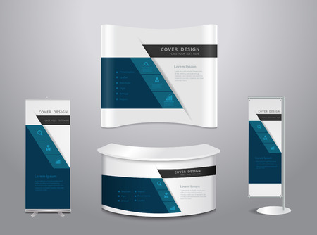 Exhibition stands with cover presentation abstract geometric background, Set of blank trade show booth mock up. Front view. Vector illustration modern layout template Vectores