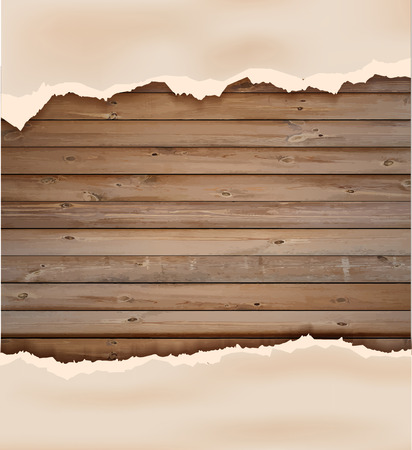 teared paper: Grunge paper on wooden wall, illustration design