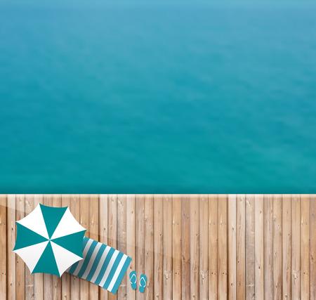 Cubierta de madera del mar vista superior, la ilustración de diseño plantilla de diseño