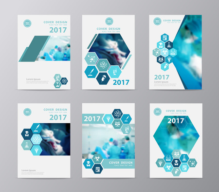 surgeon operating: Blue annual report brochure flyer design layout template  Leaflet cover presentationwith team surgeon at work in operating room, Set design in A4 size
