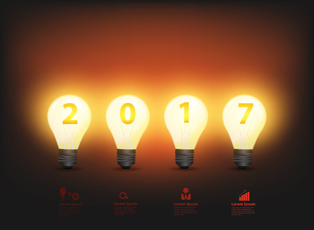 lightbulb: Happy new 2017 business year, with light bulb and number 2017, Vector illustration