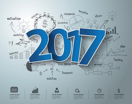 Etiquetas azules etiqueta 2017 de diseño de texto en el pensamiento creativo dibujo ideas concepto del plan de estrategia de éxito en los negocios, Inspiración concepto moderno diseño de la plantilla, diagrama, intensificar opciones, ilustración vectorial