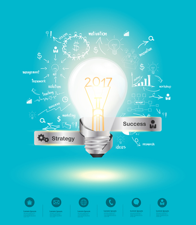 financial year: Creative idea.Concept of idea and innovation new year 2017, with creative thinking drawing charts and graphs business success strategy plan ideas, Vector illustration modern layout template design