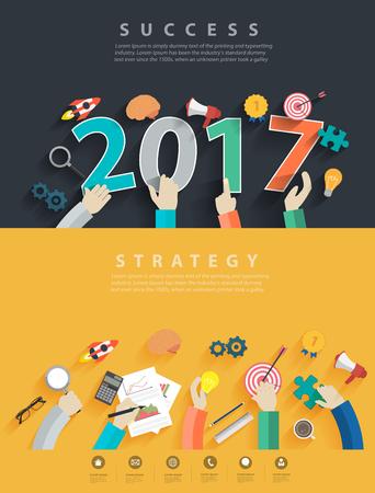 Conceitos de design plano para análise de negócios e planejamento novo ano 2017, consultoria, trabalho em equipe, gerenciamento de projetos, brainstorming, pesquisa e desenvolvimento, Vector ilustração layout modelo vista superior