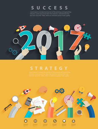 HI: Flat design concepts for business analysis and planning new year 2017, consulting, team work, project management, brainstorming, research and development, Vector illustration layout template top view