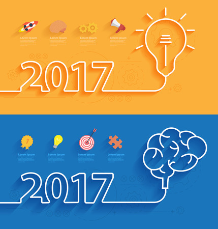 happy work: Happy new year 2017 calendar cover, Creative brainstorm concept business idea, innovation and solution, Creative design typographic vector illustration Illustration