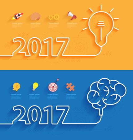 nueva cubierta feliz año 2017 calendario, concepto creativo lluvia de ideas idea de negocio, la innovación y la solución, diseño creativo ilustración vectorial tipográfica