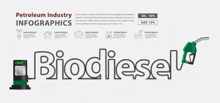 Biodiesel typographic pump nozzle creative design, Fuel pump icon, Petrol station sign, vector illustration modern layout template design