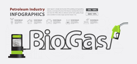 fuel pump: Biogas typographic pump nozzle creative design, Fuel pump icon, Petrol station sign, vector illustration modern layout template design