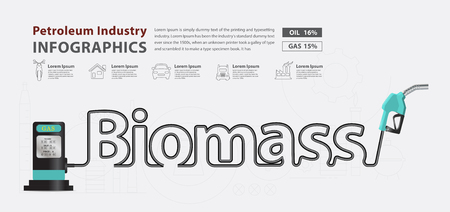 Biomass typographic pump nozzle creative design, Fuel pump icon, Petrol station sign, vector illustration modern layout template design