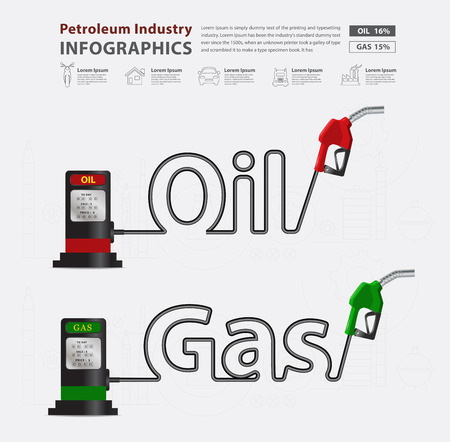 gas pump: Oil and gas typographic gasoline pump nozzle creative design, Fuel pump icon, Petrol station sign, vector illustration modern layout template design