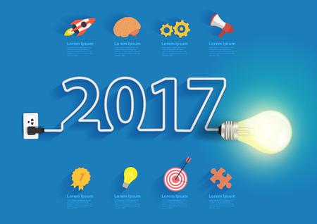 Creative light bulb idea with 2017 new year design, Inspiration business plan, marketing strategy, teamwork, brainstorm ideas concept, Vector illustration modern design template