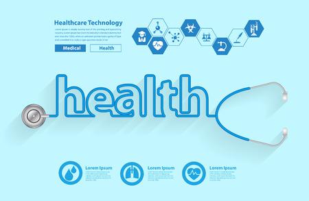 forme et sante: Stéthoscope sous la forme d'une conception de mots de santé, Vector illustration modèle de conception moderne Illustration
